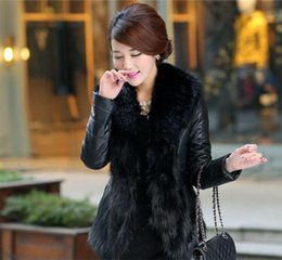 Wholesale Womens Body Stockings - In stock New Womens Body slim Faux Fur Coat with Fur Collar Winter Warm Long sleeve Warm Coat Outerwear Free Shipping WT79