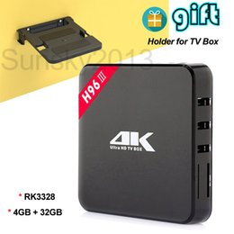 Wholesale Holder Tv - 4GB 32GB Android 7.1 TV Box Rockchip RK3328 Quad Core Smart Mini PC H96-III with Holder for Set Top Box Bluetooth 2.4G Wifi 4K Media Player