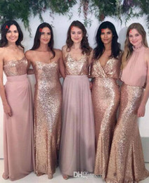 Wholesale Mix Dresses Bridesmaids - Cheap 2018 Bridesmaid Dresses Mix and Match Blush Pink Chiffon with Rose Gold Sequined Fabric Floor Length Mixture Styles Country Party Gown
