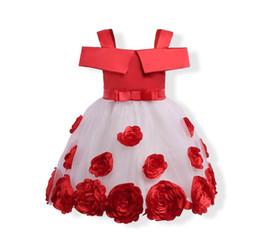 Wholesale Boat Stereos - 2018 Summer New Girl Princess Dress Stereo Rose Flower Gauze Off Shoulder Dress Children Clothing 3-9Y E1790