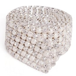 Wholesale Decoration Cake Pearls - Hot New MIC 6 Rows 1 Yards Clear Rhinestone Crystal Faux Pearl Mesh Trim Wedding Decoration