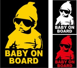Wholesale Car Decals Baby Board - Reflective Funny Baby On Board Warning Decal Car Vinyl Sticker Black Reflective Waterproof Baby On Board Car Window Stickers