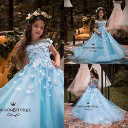 Wholesale Infant Pageant Dresses Sleeves - Blue Flower Girl Dresses with Cap Sleeve 2018 Lovely Princess Birthdays Party Dresses Hand Made Flowers Baby Infant Toddler Baptism Pageant