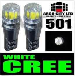 Wholesale Led White Bulbs Error - 2PCS T10 501 CANBUS Cree Bulbs LED Xenon White T10 5W Error Free Car Sidelights styling wholesale