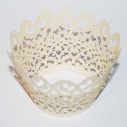 Wholesale Laser Cutting Wrapper - free shipping 120pcs Ivory filigree Hollow Laser cut Lace Cupcake Wrapper paper Cup Cake FOR Wedding Party Decoration