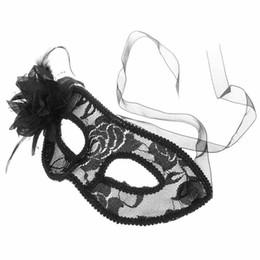 Wholesale Elegant Mardi Gras Masks - Lovely Lace Feather Halloween Masquerades Eye Mask Fashion Elegant Lily Flower Mardi Gras Masks Venetian Party Half Face Masks For Christmas