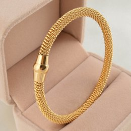 Wholesale Open Cabling - Fashion twisted 316L Stainless Steel cable Bangle Bracelet silver rose gold black coffee women cable open clasp bracelet & bangle jewelry