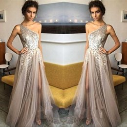 Wholesale One Shoulder Sequin Formal Dresses - 2018 One Shoulder Sequins Tulle A Line Prom Dresses Split Floor Length Formal Party Evening Dresses