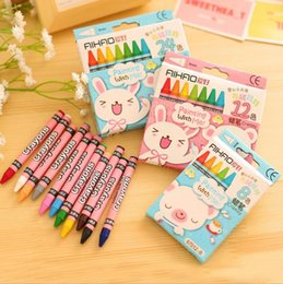 Wholesale Draw Crayons - 8 12  24 pcs set Cute Rabbit Crayons For Painting Drawing Kid Gift Pastel Wax Crayon Papelaria Stationery Supplies Free shipping