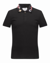 Wholesale White Scoop Tee - Snake Bee Embroidered Collar poloshirt shirt men t shirts Fashion T-shirt Luxury designer shirts Male Casual Short Sleeve Tops Tees 16522