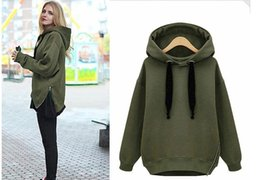 Wholesale Korean Hooded Jacket - Arm Green New Winter Autumn Loose Hooded Jacket Plus Size Thick Velvet Long sleeve Sweatshirt Korean Style Hoodies 500g pc