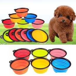Wholesale Hot Dog Dish - 2017 hot sales Dog Folding Collapsible Feeding Bowl Silicone Water Dish Cat Portable Feeder Puppy Pet Travel Bowls