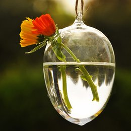 Wholesale Hanging Glass Eggs - Unique Design Hanging Round Egg Glass Clear Flower Vase Hydroponic Container Creative Exquisite Special Gift