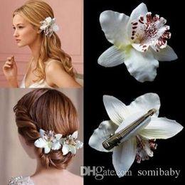 Wholesale Hairpin Hair Accessory Leopard - Girl Bohemia Bridal Flower Orchid Leopard Hair Clip Hairpins Barrette Wedding Decoration Hair Accessories Beach Hairwear