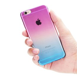 Wholesale Iphone 5s Transparent Color Cases - Hot selling Transparent Gradient Color Design TPU Silicon Phone Covers Shell TPU Soft Silicone Case For For iPhone 5 5s 6 6s 6 Plus