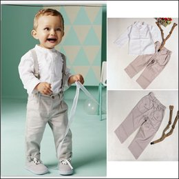 Wholesale Kids White Leisure Suit - 2015 HOT gentleman leisure suits 2-7Y Kids Autumn Outfits 2pcs white long sleeve shirt+Bib pants boys set free shipping MOQ:25sets SVS0522