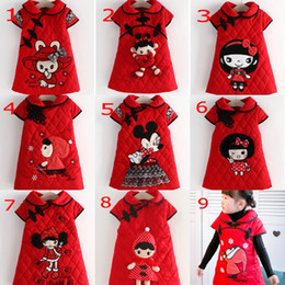 Wholesale Leather Jackets For Kids - 2016 Chinese Tang suit cheongsam For Kids Red Christmas Children's Formal Jackets Tea length Coat Sheath Cute 9 Design Styles