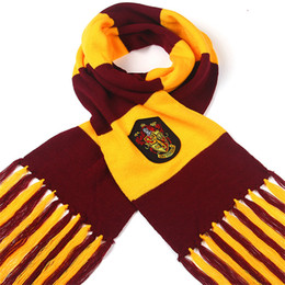 Wholesale Black Magic Costume - film fans Scarf Scarves Knit lace Gryffindor Hufflepuff Cosplay Scarf Wrap Striped Magic School Costume Gift Scarves 240389