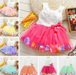 Wholesale Girls Chiffon Pearl Dress - New Summer Kids Baby Child Girls Sleeveless Princess Pink Yellow Purple Blue Green Bow Colorful Flower Flora Petal Pearl Tutu Dresses