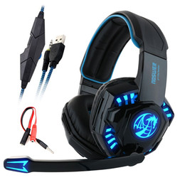Wholesale Microphone Leads - Noswer I8 Led Stereo Headset Computer Headphones earphones with microphone for Gaming PS4 PC Laptop Gamer Mobile Phones Gamer