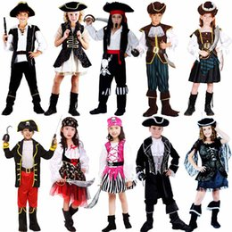 Wholesale White Pirate Costume - Pirate Costume Caribbean Pirates Costume Kids Halloween Carnival Costumes Fantasia Fancy Dress Party Supplies