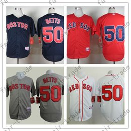 Wholesale Grey Shirt Cool - Boston Red Sox Jerseys 50 Mookie Betts Jersey White Red Grey Cool Base Shirt Stitched Authentic red sox Baseball Jersey Cheap