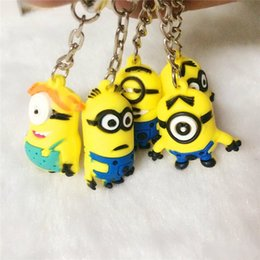 Wholesale Despicable Ring - hottest 3D me minion keychain Despicable Me 3 Minion keychain keyring key ring cute promotion gift keychain and card package different style