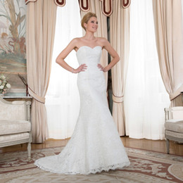 Wholesale Organza Sweetheart Mermaid Wedding Dress - Dream Mermaid Wedding Dresses with Lace Sweetheart Off Shoulder Plus Size Organza Bridal Gown 2016 Appliques