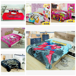 Wholesale Kids Blankets Cartoons - Home Textile Cartoon Kids Gift Blanket Bed Blankets Plush Fleece Blanket Throw on Bed sofa 150x200cm Free Shipping K012