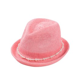 Wholesale Pink Trilby Hat - Wholesale-Fashion Summer Casual Unisex Beach Trilby Large Brim Jazz Sun Hat Panama Hat Paper Straw Women Men Cap With white pearl