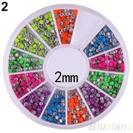 Wholesale Metal Nail Studs - Wholesale- 6 Colors 2-3mm Neon Rivet Round Metal Stud Rhinestone Fashion Nail Art DIY Decoration 02EF 46O4