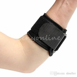 Wholesale Golf Elbow Strap - Comfortable Black Adjustable Tennis Fitness Elbow Support Strap Pad Neoprene Sport Golf Pain Health Care Free Shipping A5