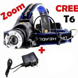 Wholesale Lm Zoomable Headlamp - Free Epacket,2015 New CREE XML T6 LED 2000LM Headlamp Headlight Head lamp light 1600 Lm Zoomable Zoom torch IN OUT+Charger