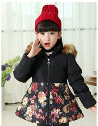 Wholesale Long Winter Coat Size Small - The new small and medium-sized girls down jacket to keep warm flower skirt collars children's wear down jacket in winter BH1329