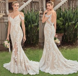 Wholesale Lace Nude Wedding Gown - Garden Beautiful Off The Shoulder Sexy Wedding Dresses Bridal Gowns Split Front Lace Appliqued Bridal Dresses Wedding Gown Nude Base