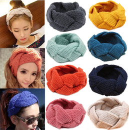 Wholesale Crochet Women Headbands Wholesale - 18 Colors Ladies Korean Wool Braid Crochet Headbands Women Fashion Winter Warmer Knitted Headwear Hair band Girls hair accessories 20pcs lot