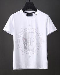 Wholesale Tshirts Slim Sleeve Mens - Pentagrams Print T-Shirt Round Neck Crystal Mens 3D Tshirts Breathable Short Sleeve Slim Sport Polo shirt Black white Yonth Shirts 18722