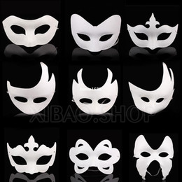 Wholesale Plain Paper Masquerade Masks - 10pcs lot White Unpainted Face Plain Blank Version Paper Pulp Mask DIY Masquerade Masque Free shipping