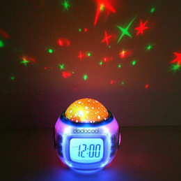 Wholesale Color Star Night Light Led - Digital Led Projection Projector Alarm Clock Calendar Thermometer horloge reloj despertador Music Starry Color Change Star Sky Night Lights