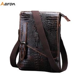 Wholesale Flip Messenger Bags - Wholesale-Aaron - New Alligator Pattern Irregular Flip-open Cover Men's Messenger Bags,Metal Button Open Shoulder Bag For Men,Casual