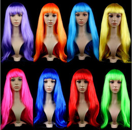 Wholesale Cheap Cosplay Costumes For Sale - Christmas Festival Cosplay Wigs Hot Sale Multicolor Cheap Synthetic Hair Wig Cosplay Costume Long Straight Wigs For Party club night
