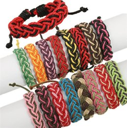 Wholesale Green Friendship - Bohemia Colorful Braid Rope Bracelets Fashion Men Women Lover Friendship Bangles Adjustable Handmade Fine Jewelry Birthday Gifts Y087