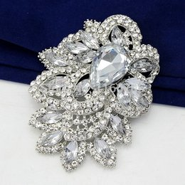 Wholesale Diamante Crystal Brooch - Star Jewelry Huge Size Elegant Clear Rhinestone Crystal Diamante Large Gift Bridal Brooch For Wedding & Party
