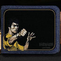 Wholesale Kung Fu Bags - Bruce Lee wallet Kung fu actor purse Leisure short cash note case Money notecase Leather burse bag Card holders