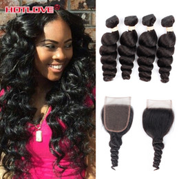 Wholesale Brazillian Loose Wave - Hotlove Brazilian Loose Wave With Closure 4 Bundles Brazillian Virgin Hair With Lace Closure Full Loose Wave Human Hair With Closure