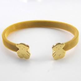 2019 fiori in acciaio inox Braccialetti d'oro per le donne 2016 braccialetti d'acciaio inossidabile della molla di nuovo arrivo della larga del braccialetto largo delle donne braccialetti di fiore gemma di seta fiori in acciaio inox economici
