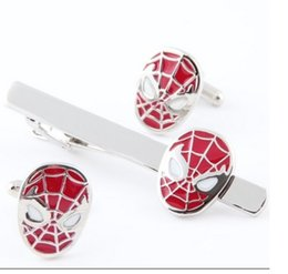 Wholesale Tie Clips Sell - Best selling Red Spiderman Cuff Link and Tie Clip Sets For Shirt Best gift Fashion Jewelry Free Shipping W388