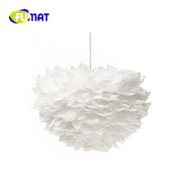 Wholesale White Feather Pendant Light - FUMAT LED Modern Simple Creative 3 heads White Feather Chandelier Pendant Lamps for living room Bedroom Study Lustre criativo