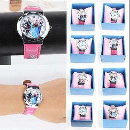 Wholesale Mens Colorful Sport Watches - Sport Watch Quartz Cartoon Watches Frozen Anna Elissa Wristwatch Fashion Cute bracelet Fashion Mens Women Colorful With Retail pacakge 2017