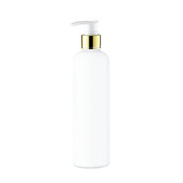 Wholesale dispenser pump spray - 20pcs 300ml empty lotion Gold collar pump white bottle,PET cosmetic container with liquid soap dispenser,amber spray refillable bottle